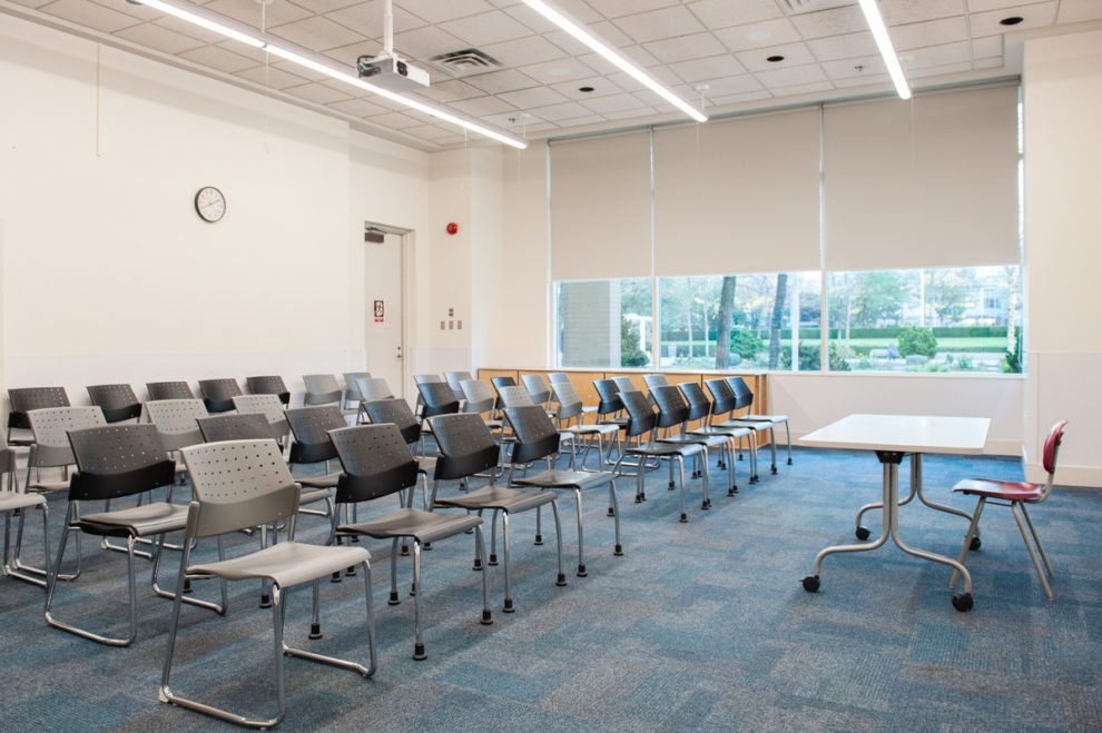Chairs set up in the program room at the Bob Prittie Metrotown Branch